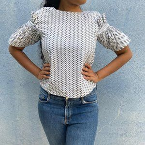 White Patterned Top with Pleated Sleeve Detail